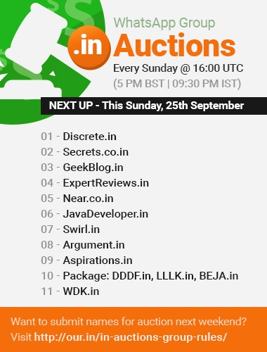 DOT IN DOMAIN NAMES TO BE AUCTIONED on 25th Sep 2016