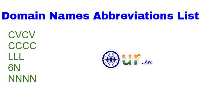 Domain Names Abbreviations List